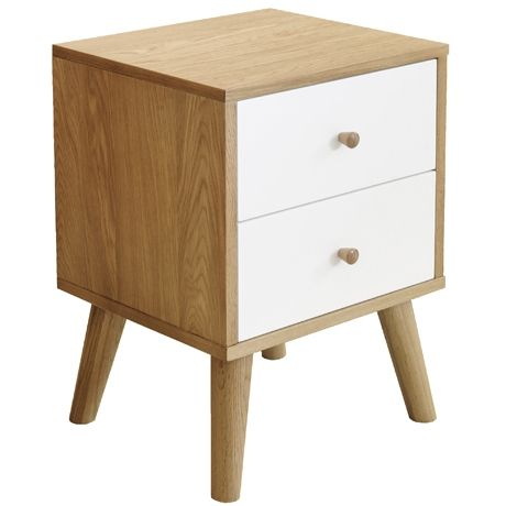 Oslo 2 Drawer Bedside Table  Oak/White