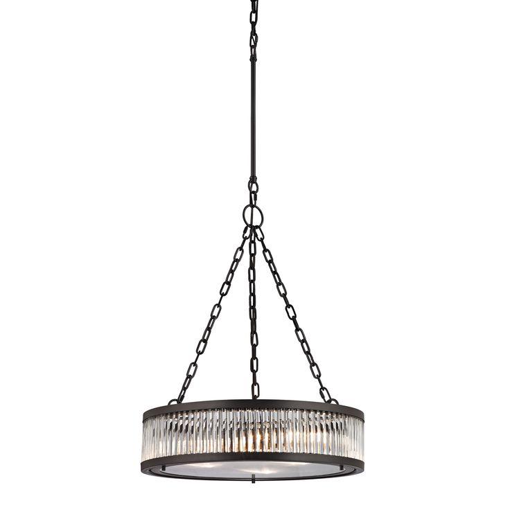elk lighting linden oilrubbed bronze and clear glass 3light pendant overstock
