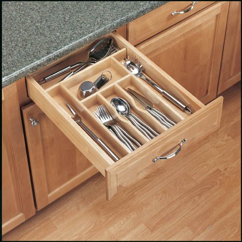 Rev-A-Shelf 4WCT-1 | Organize kitchen drawers with Rev-A-Shelf's Wood Cutlery Tray Insert. The WCT Series is made of our classic maple hardwood with a UV-cured clear finish to ensure an acceptable match to any kitchen cabinet. This modern day clutter solution requires a simple drop-in installation with two sizes that may be trimmed to fit various drawer sizes.