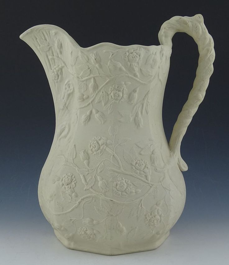 Bennington pottery wild rose pattern parian pitcher 1852 for Pottery painting patterns