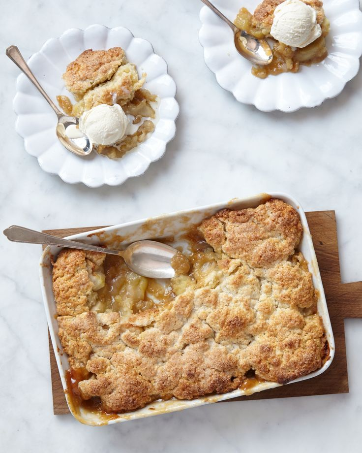 Apple Cobbler | Martha Stewart Living - Vanilla bean and brown butter may not be as traditional a pairing for apples as cinnamon, but they are just as delicious in this cobbler filling. Serve warm with vanilla ice cream.