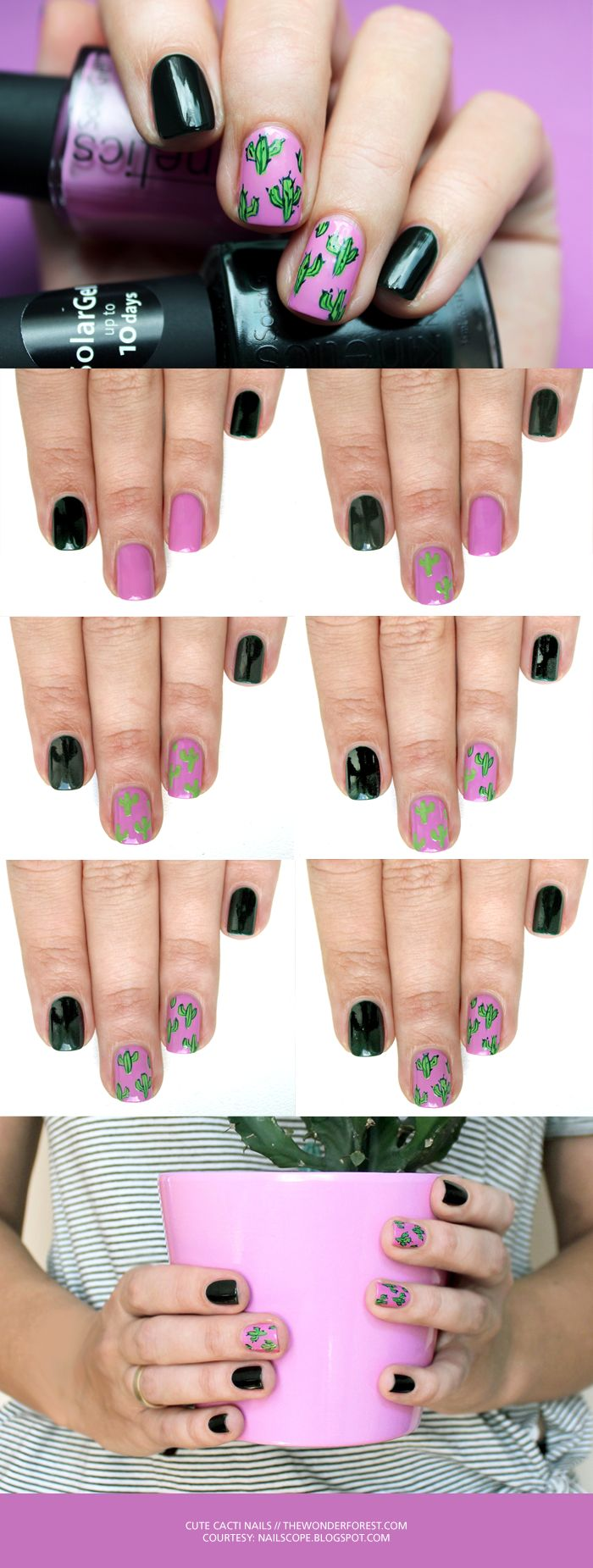 DIY Cool Cacti Nail Art Tutorial