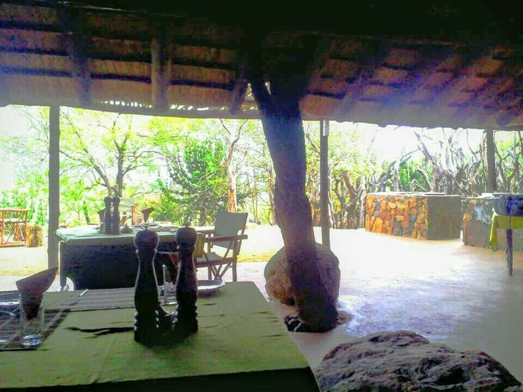The deck inside the boma where meals are served.