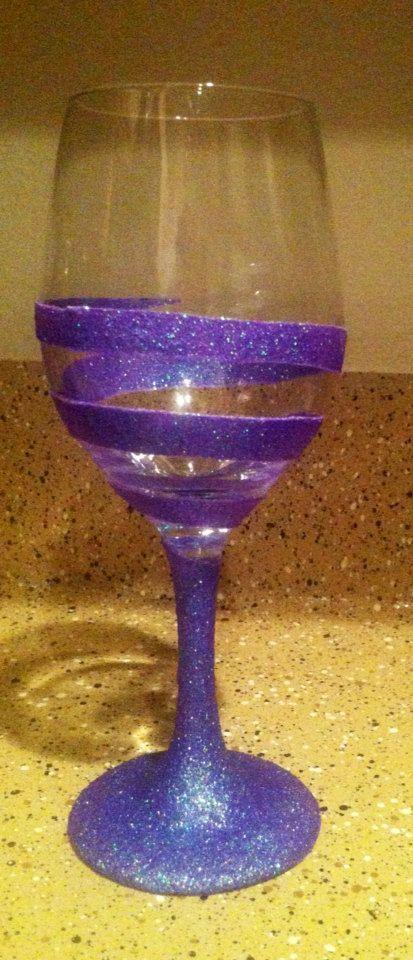 Hand Painted Swirl Wine Glass 1 glass by HappyHippoHomeDecor, $12.00