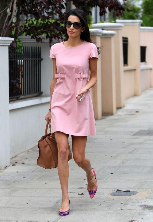 Amal Alamuddin in a pink shift dress