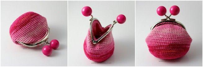 вязаный кошелек с фермуаром, вязаный кошелек на застежке с шариками, кошелек вязаный крючком, стильный вязаный кошелек, розовый вязаный кошелек MONEDEROS CROCHET