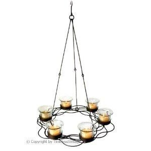 6 Clear Glass Votive Candle Holder Hanging Chandelier
