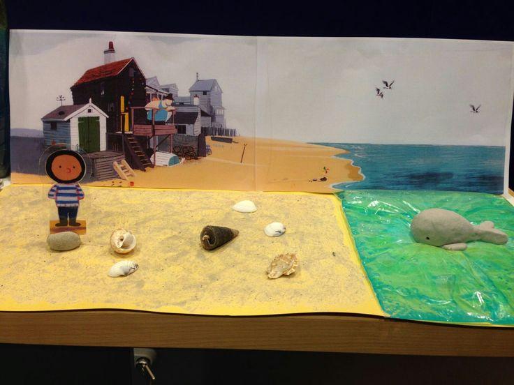 De kleine walvis. Verteltafel idee. Boy, walvis van klei. Het strand gemaakt met verf van lijm zand en scheerschuim.