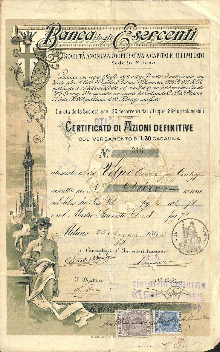 BANCA DEGLI ESERCENTI - #scripomarket #scriposigns #scripofilia #scripophily #finanza #finance #collezionismo #collectibles #arte #art #scripoart #scripoarte #borsa #stock #azioni #bonds #obbligazioni