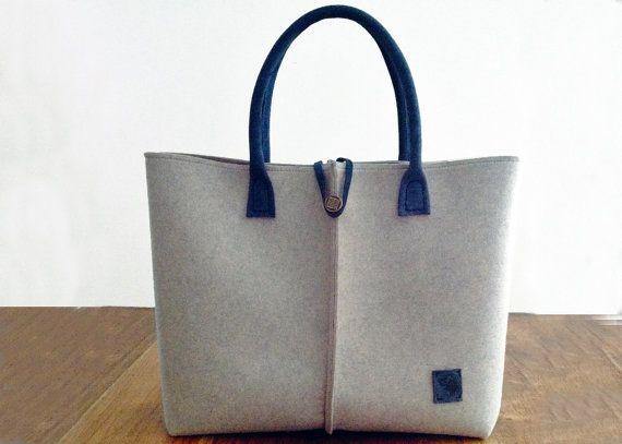 beige felt bag. Tote bag, Felt bag, Felted tote bag, bag for women, leather and felt bag,
