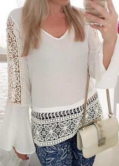 White Long Sleeves Pierced Chiffon Blouse                                                                                                                                                                                 Más