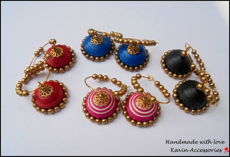 Colourful jhumkas with Hoops  #kavinaccessories#
