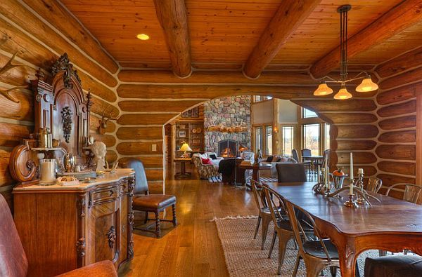 log-private-lake-house4  Five-bedroom, five-bath residence near Whitefish Lake for sale
