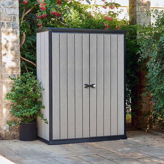 Keter High Storage ShedSpecifications:  Exterior Set-Up Dimensions (L x W x H):  139.4 cm x 77 cm x 181.6 cm (54.9 in. x 30.3 in. x 71.5 in.)  Interior Set-Up Dimensions (L x W x H):  130.6 cm x 66 cm x 176.5 cm (51.4 in. x 26 in. x 69.5 in.)  Weight: 47 kg (103.6 lb.)