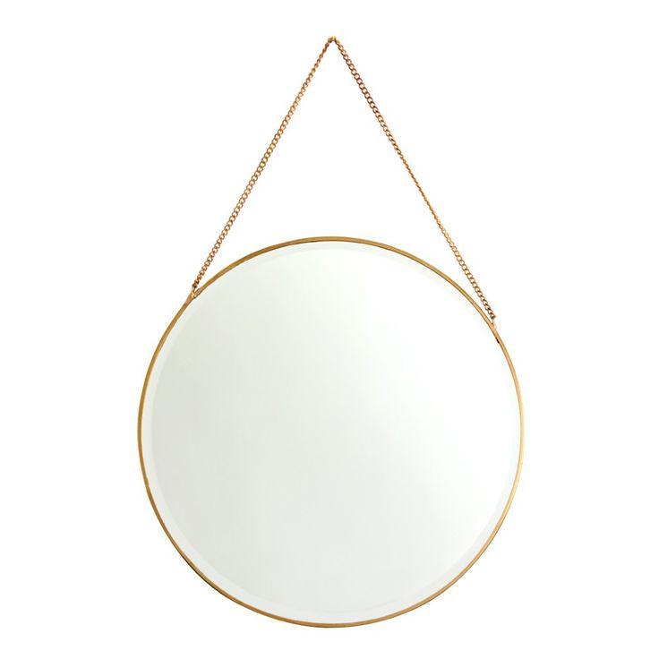 Brass Round Mirror on Chain
