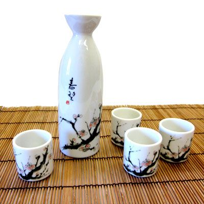 Gorgeous Cherry Blossom Sake Set - Features pink cherry blossoms and branches on white. Made in Japan!