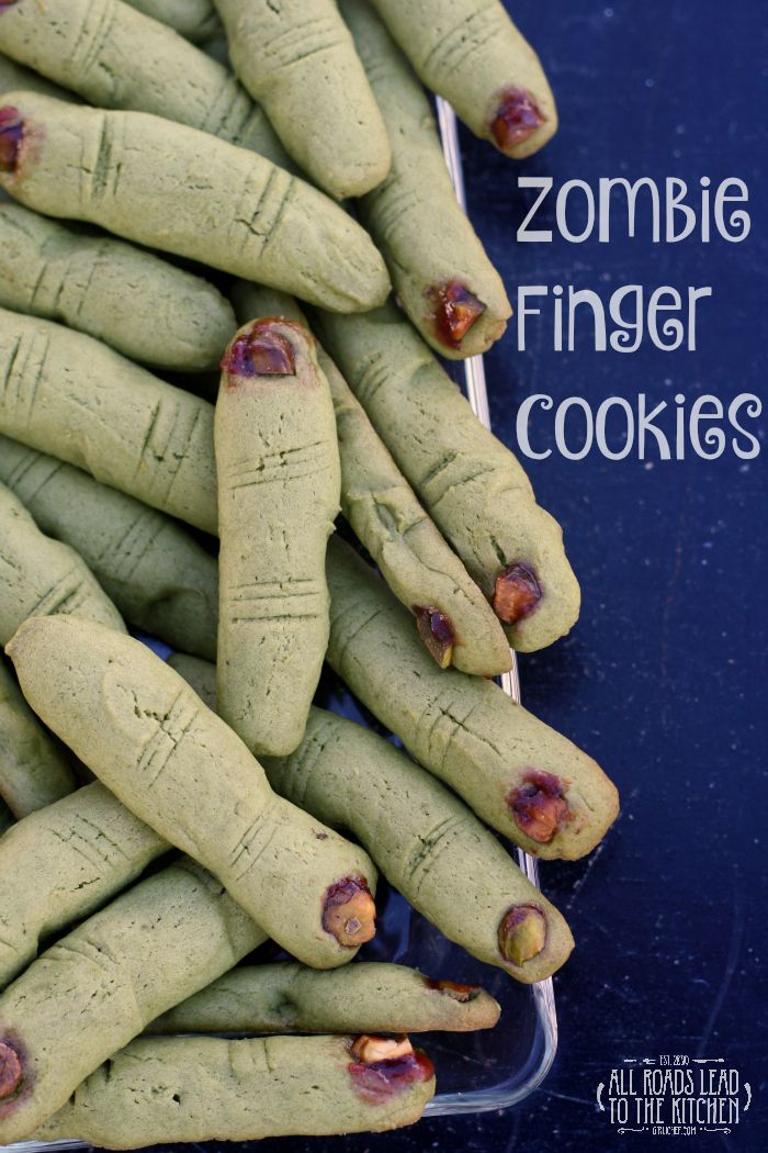 Zombie Finger Cookies are a perfect ghoulish treat for your Halloween celebration. Yummy, buttery, & scary - doesn't get any better!