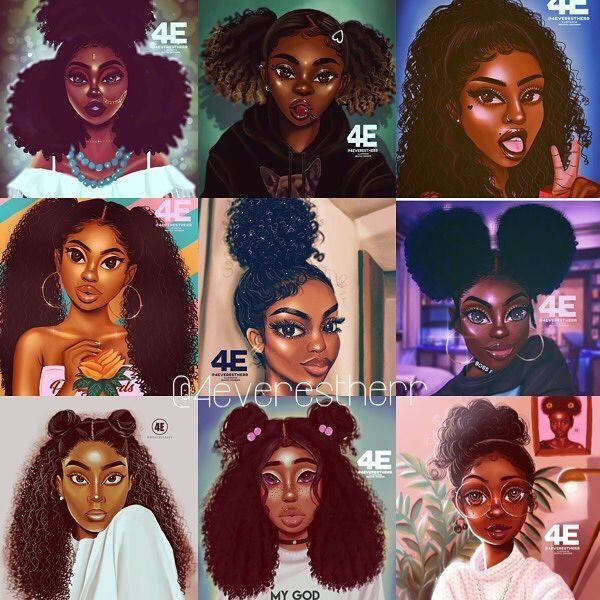 Black Girls X Cute Hairstyles Illustration Drawing Digitalart Digitalpainting Blackart Girl Hair Drawing Natural Hair Styles Black Girl Natural Hair