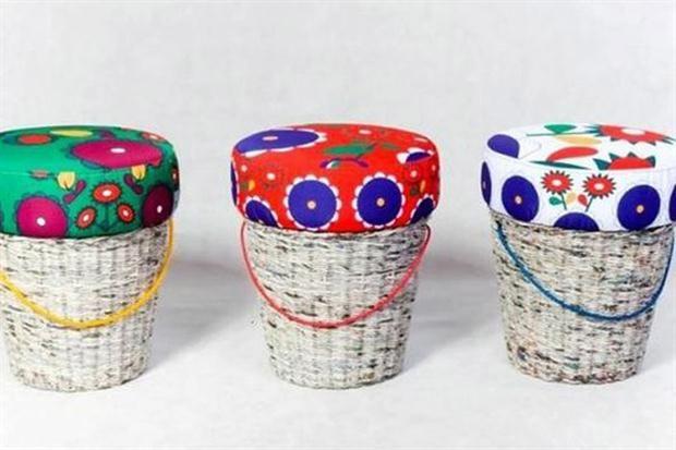 Bases de mimbre o ratán pintado y almohadones con géneros coloridos, son buenas propuestas para los hogares de los más jóvenes. | Foto: Pinterest.