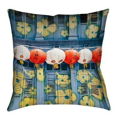 """Bloomsbury Market Akini Lanterns in Singapore Square Pillow Cover with Zipper Size: 14"""" x 14"""""""