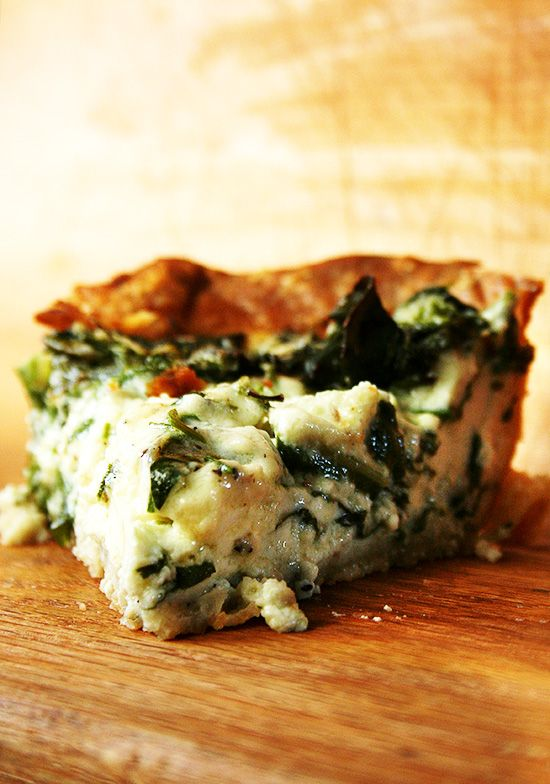 Quiche with crème fraîche and swiss chard