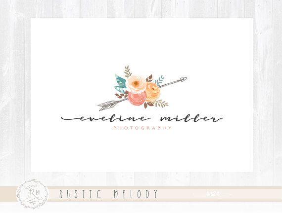 Photography Logo Design Rustic Floral Boutique Signature Decor Gold Watermark