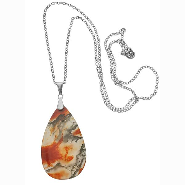 Art Deco Pendant  An Incredible Large  Pear Shaped Dendritic Agate Set In Sterling Silver; English, Circa 1935