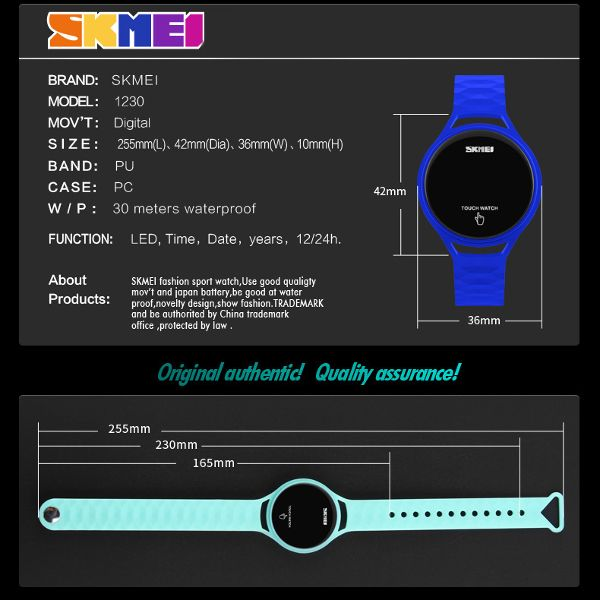 SKMEI 1230 Trendy Men Women Digital Watch Touch Screen LED Display PU Strap Sport Watch online - NewChic