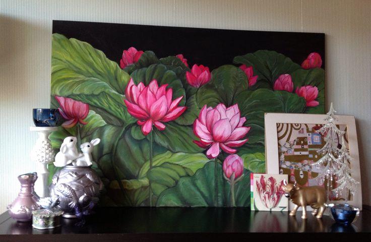 Oil painting Lotus flowers