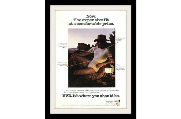 """1982 BVD Men's Underwear Ad """"Cowboy Sunset"""" Vintage Advertisement Print"""