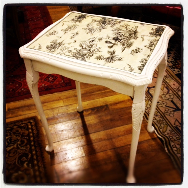easy - right?! decoupage table.