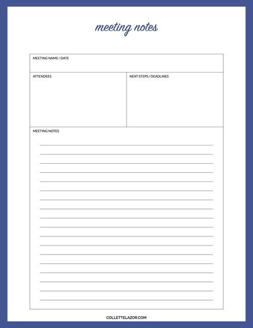 Meeting Notes Printable Made with Love by @collettelazor job