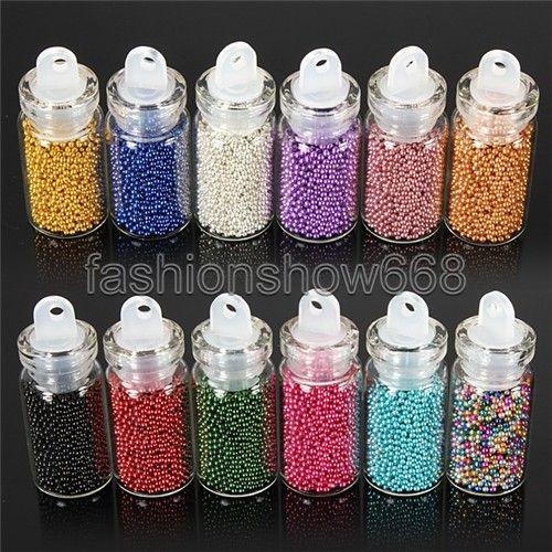 12 pcs cores Caviar Nails Bottle Art Set manicure pequeno círculo Beads 3D decoração ferramentas grátis frete em Pedras & decoração de Health & Beauty no AliExpress.com | Alibaba Group