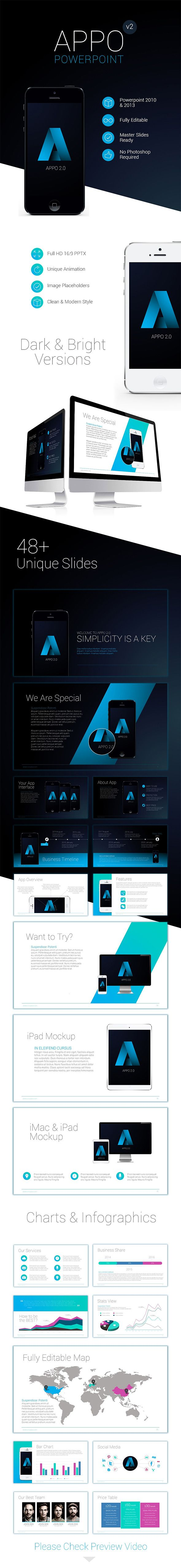Premium App Powerpoint Template PowerPoint Template / Theme / Presentation / Slides / Background / Power Point #powerpoint #template #theme