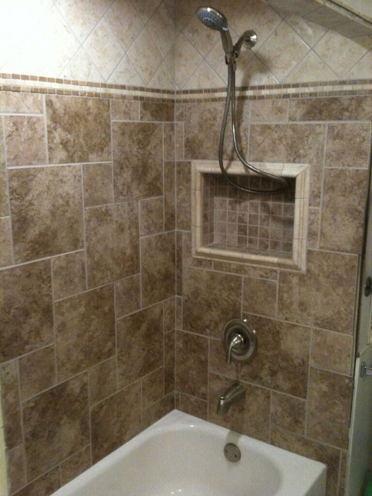 Tile tub surround home ideas pinterest tile love for Bathroom enclosure designs