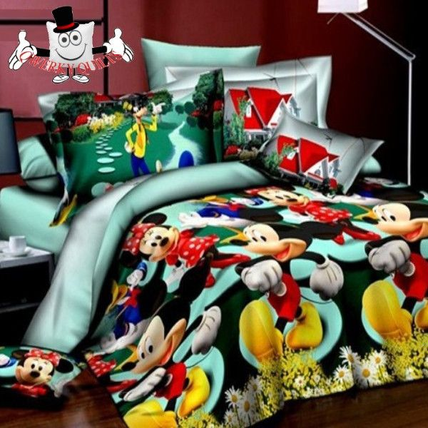 Green Mickey and Minnie Mouse Bedding Set and Quilt Cover http://www.qwerkyquilts.com/products/green-mickey-and-minnie-mouse-bedding-set-and-quilt-cover