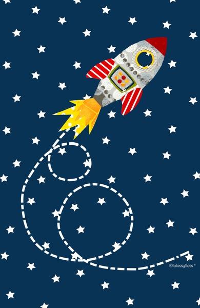 Dash retro rocket Art Print by Blossyfloss