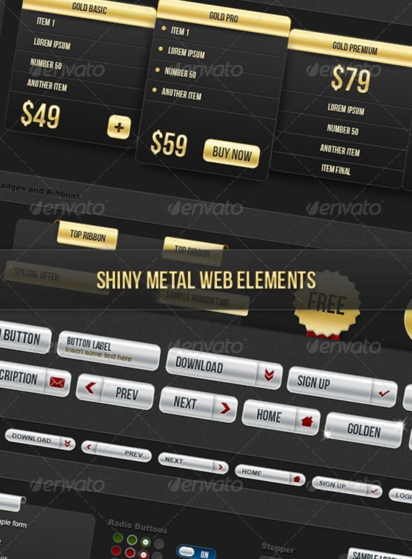 "Shiny Metal Web Elements  #GraphicRiver         A complete set of shiny metal web UI elements, ready to use on any project.  	 - Buttons - Form Elements - Stars and Bullets - Price columns - Tabbed Panes - Tool Tips - Pager - Sliders - System Messages - Badges and Ribbons - And more…  	 Includes well organized PSD files, really easy to edit.  	 It comes in two shiny default styles ""Gold"" and ""Silver"".  	 The fonts used are Arial and Bebas Neue ( .fontsquirrel /fonts/bebas-neue) ready for…"