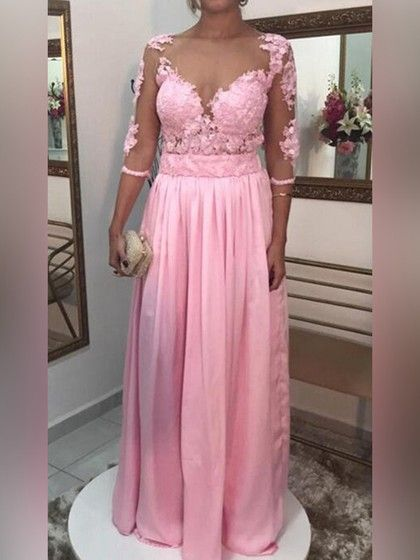 f19b052a90fd A-line V-neck Chiffon Tulle Floor-length Appliques Lace Prom Dresses $157.99