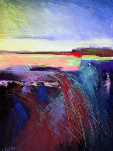 landscaping with lavender | Lavender Dawn, abstract landscape by Carol Engles, original painting ...