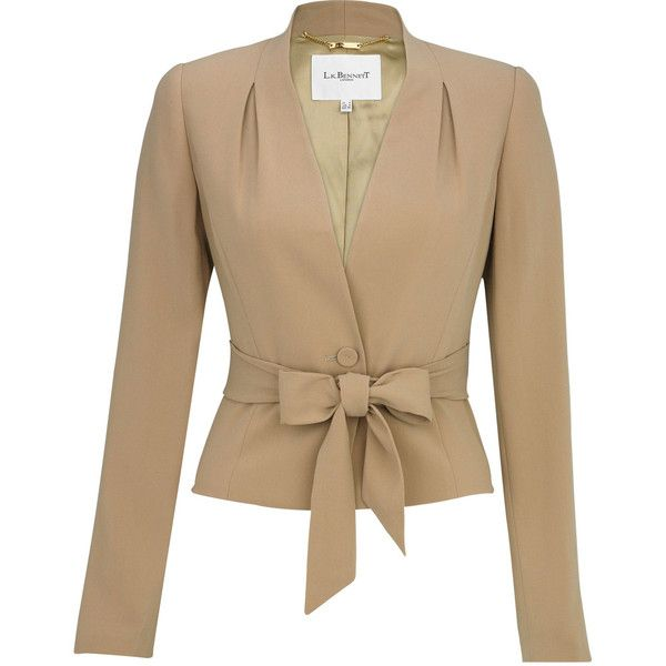 Bow Suit Jacket ($170) ❤ liked on Polyvore featuring outerwear, jackets, blazers, tops, casacos, women, bow jacket, blazer jacket, beige blazer and tailored jacket