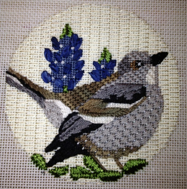 Our Texas state bird, the mockingbird. Stitched by Patricia Sone, canvas and kit available through Creative Stitches in Dallas.