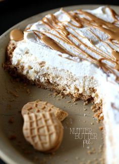 Nutter Butter Pie. A simple and creamy pie that is loaded with Nutter Butter Cookies! You could even use Oreos or Thin MInts instead!
