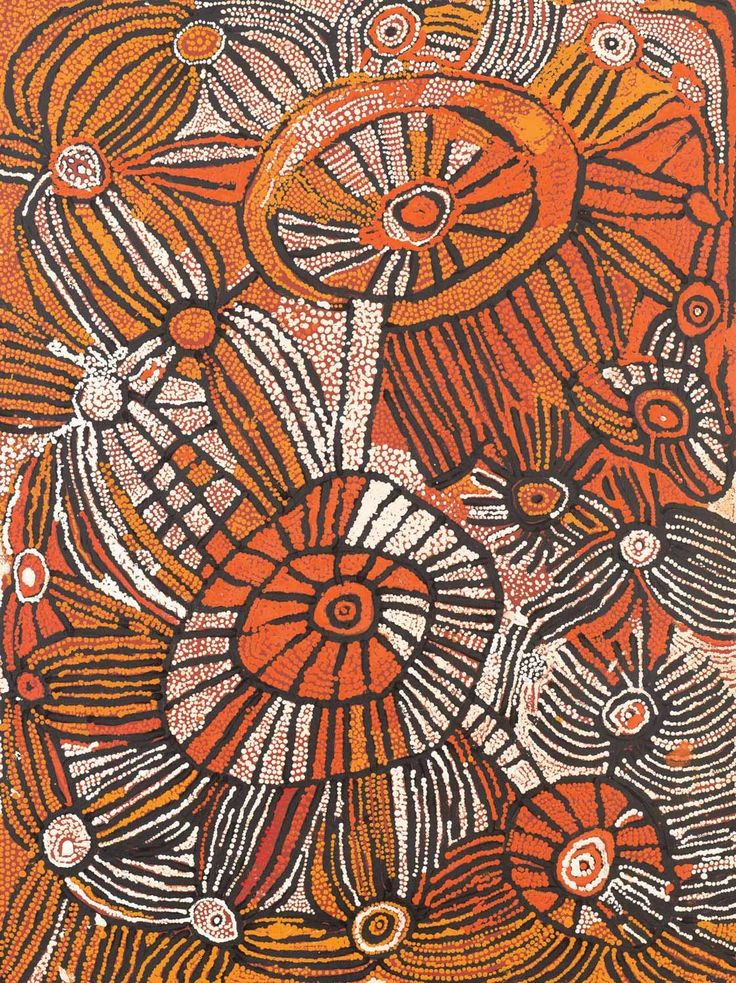 "Naata Nungurray, Untitled (Unkunya), 2006, synthetic polymer paint on linen, 122 x 91 cm; Papunya Tula Artists; Tony Bond Aboriginal Art; Mossgreen Auctions 2015. ""This painting depicts designs associated with the soakage water site of Unkunya, west of the Pollock Hills in Western Australia. The soakages at the site are represented by the two large roundels: lines depict the tali (sandhills) surrounding Unkunya."