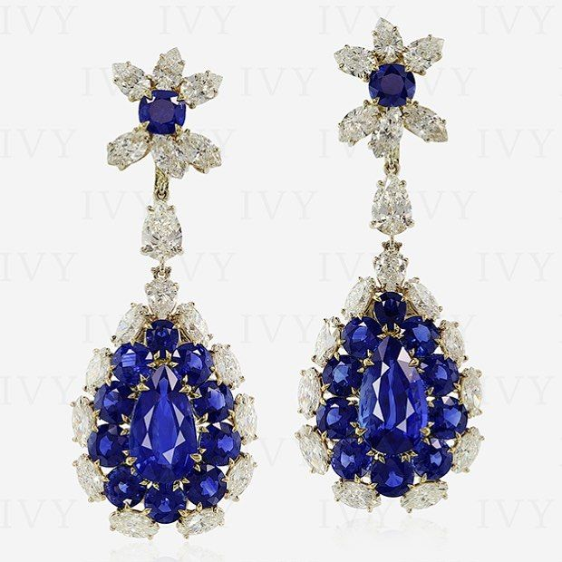 Magnificent pair of Blue Sapphire and Diamond ear pendants! #blue #sapphire #noheat #diamonds #earing #ivy #ivynewyork #handcrafted www.ivynewyork.com