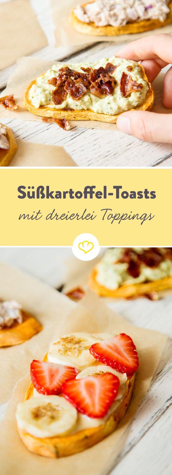 Süßkartoffel in Scheiben schneiden, toasten und mit allem belegen worauf du Lust hast. Den Anfang machen Avocado und Bacon, Thunfischcreme und Mandelbutter.