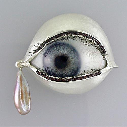 Kim Eric Lilot  Brooch: Stanislovski Tears  Sterling silver, glass eye, fresh-water pearl, eye-lashes