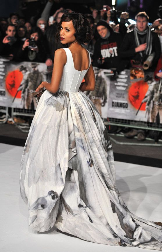 Kerry washington in giles at the django unchained premiere for Giles deacon wedding dresses