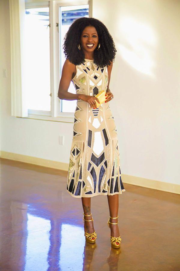 Geo Print Sequin Midi Dress
