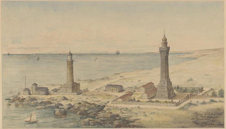 Phares d'Eckmühl, vue cavalière. Aquarelle Paul Marbeau architecte 1893 Arch nat CP/F/14/17513/14, pièce 96